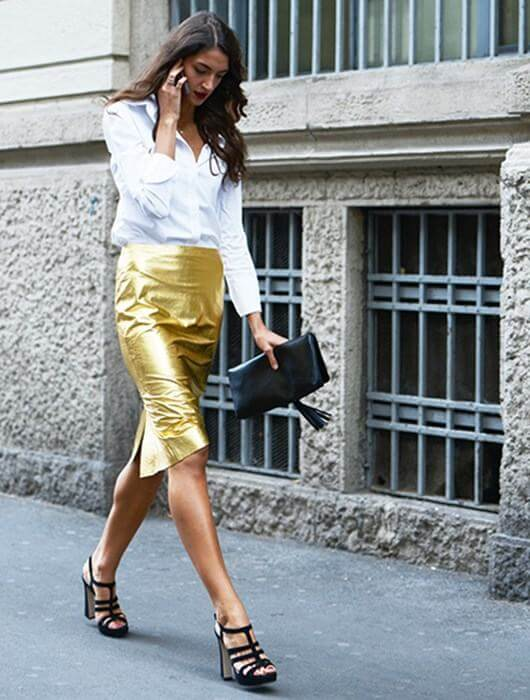 Falda metalizada para un look de comunión