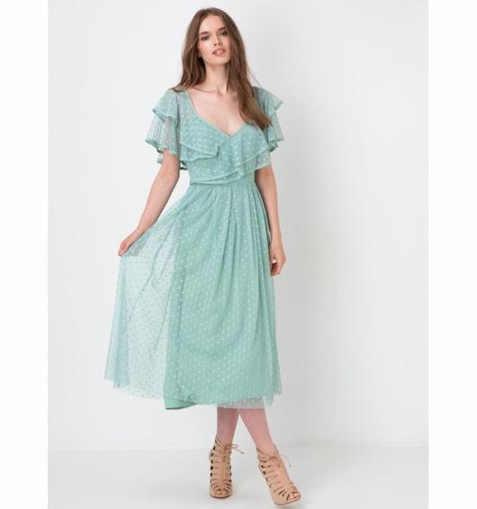 Vestido romántico color mint